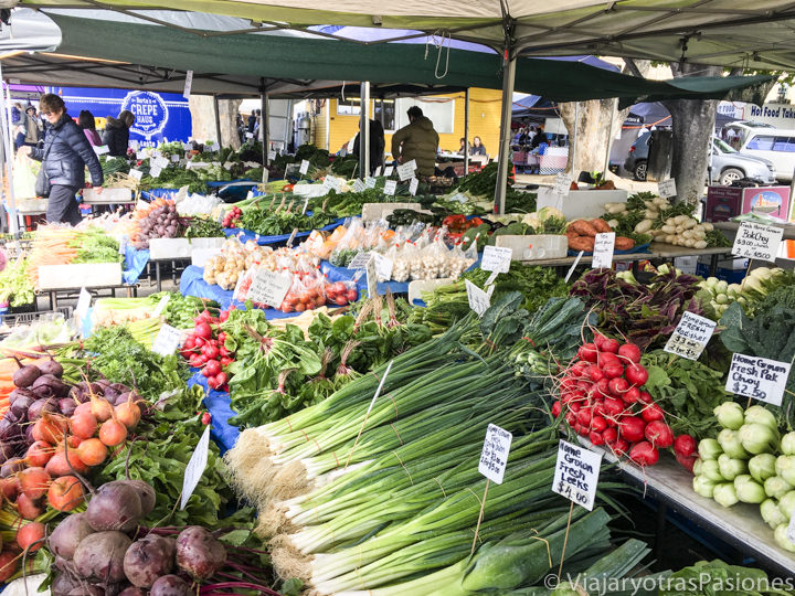 Puestos de verdura en el Salamanca Market de Hobart, Australia