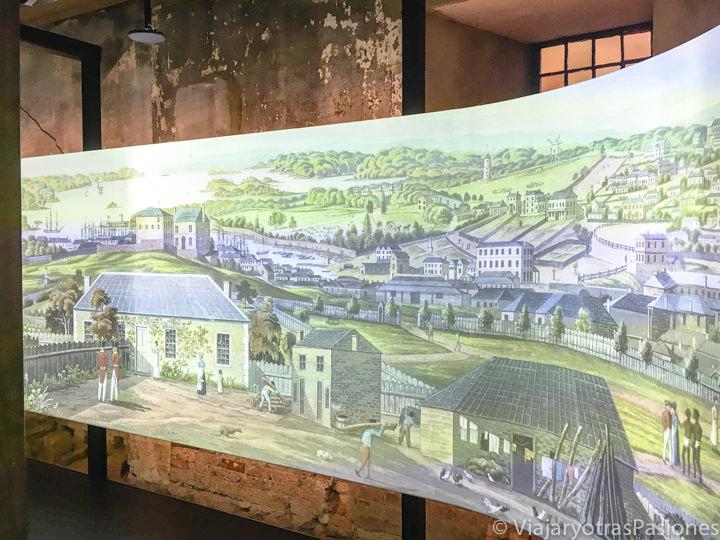 Antigua imagen de Sydney en el museo del Hyde Park Barracks, Australia