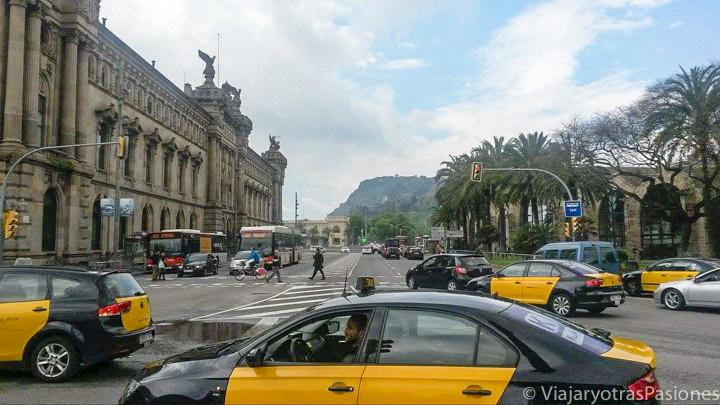 Vista de taxis para moverse en la ciudad de Barcelona, España