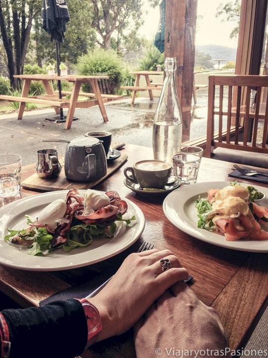 Haciendo desayuno en Gabriel on Bay en la Tasman Peninsula, Tasmania