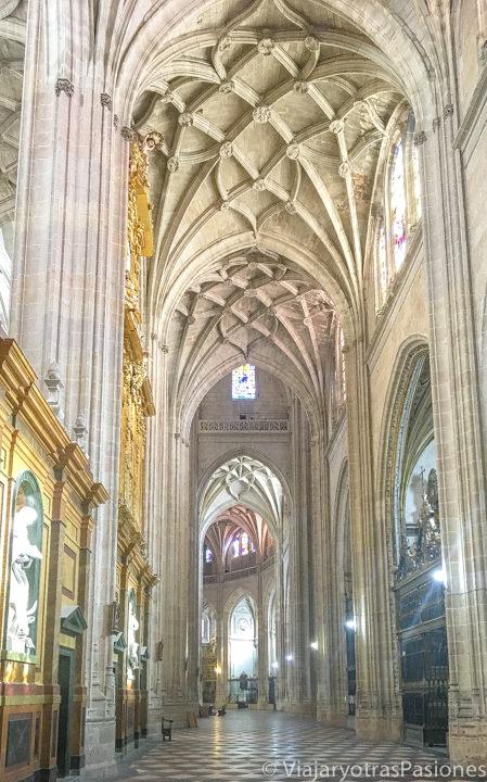Hermoso panorama de la nave lateral en el interior de la Catedral de Segovia, España