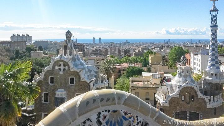Imagen panorámica desde el Parque Güell en Barcelona, España