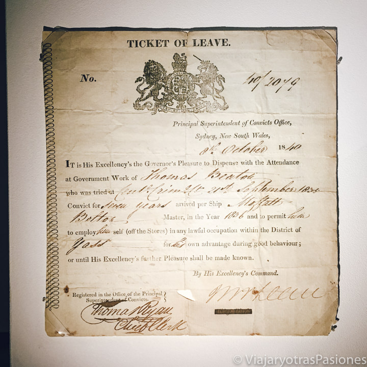 Imagen de un Ticket of Leave en el museo del Hyde Park Barracks en Sydney