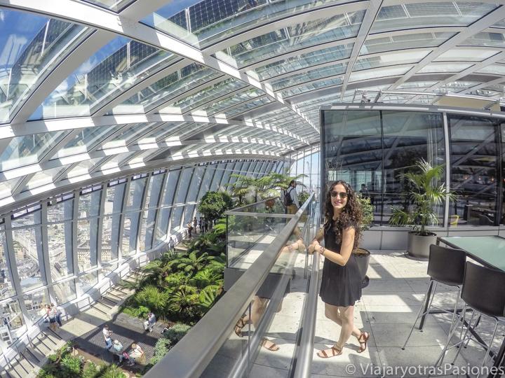 Vista panorámica del interior del Sky Garden en la City de Londres en Inglaterra