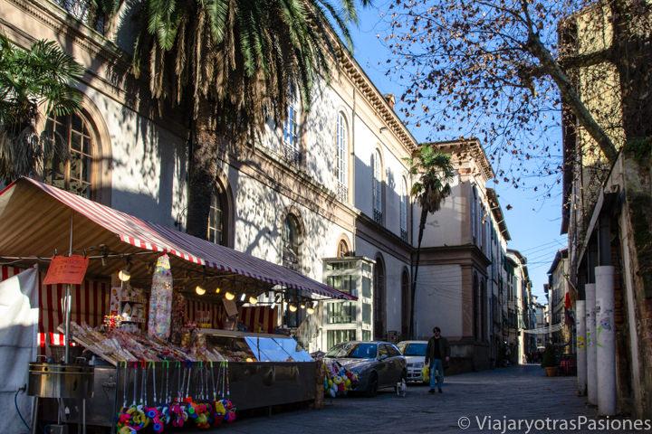 Vista del puesto de frutos secos en via San Paolino en la bonita ciudad de Lucca en Toscana, Italia