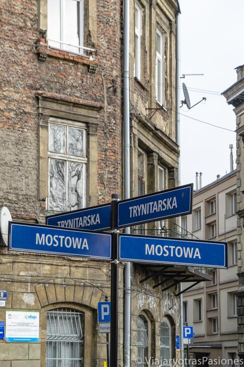 Nombres de las calles en el centro de Cracovia, Polonia