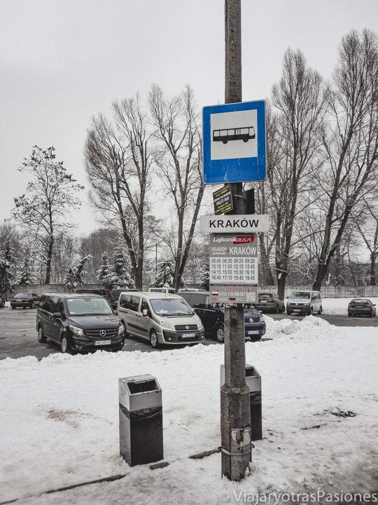 Parking y parada del bus de frente al campo de concentración de Auschwitz, en Polonia