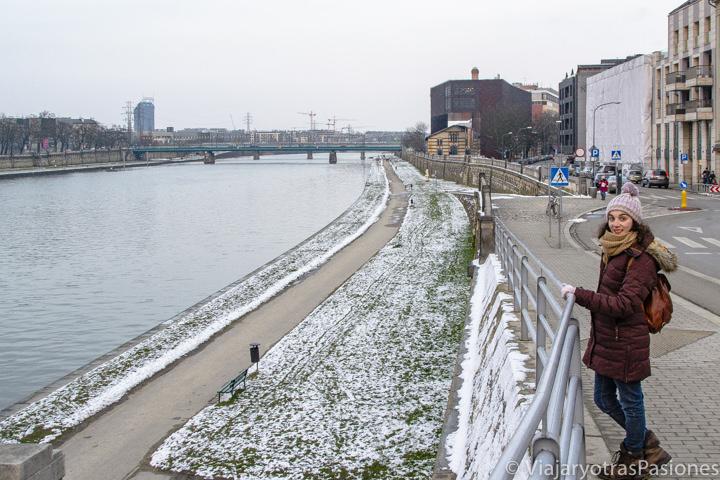 Panorama en las orillas del río Vistula en Cracovia, Polonia