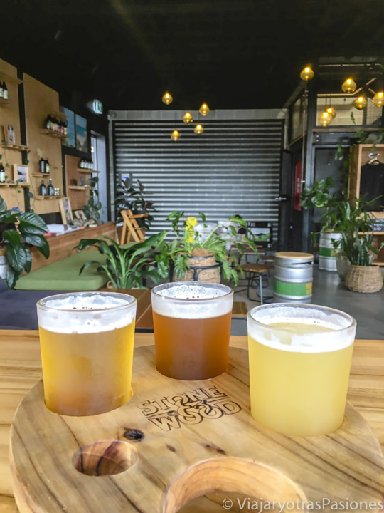 Ricas cervezas del brand Stone and Wood de Byron bay, Australia