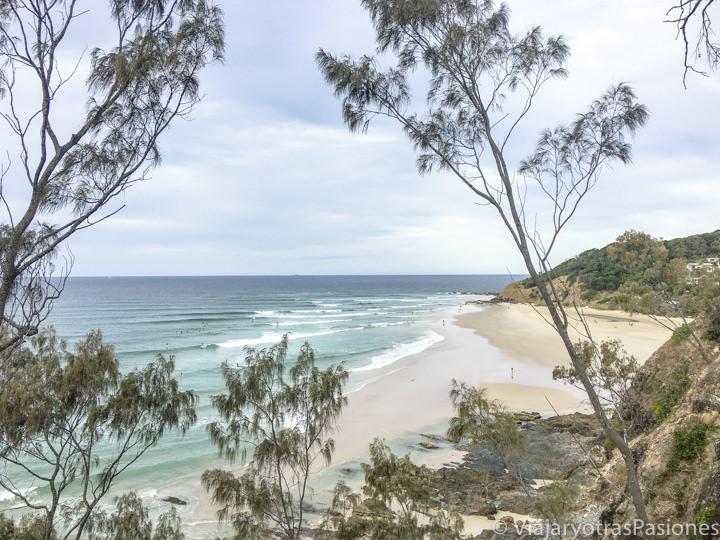 Panorama de la bonita playa de Wategos en Byron Bay, Australia