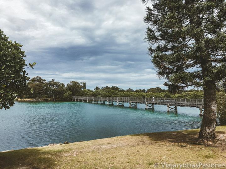 Vista del bonito puente peatonal de Brunswick Head cerca de Byron Bay, Australia