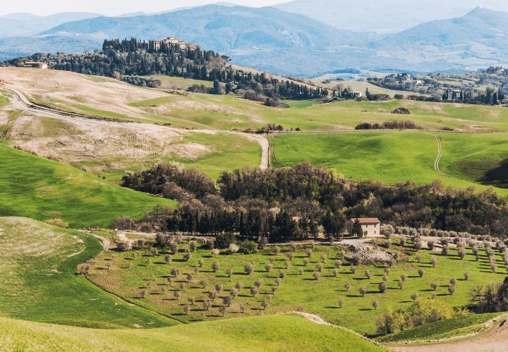 Típico paisaje toscano en el area del Chianti, en Italia