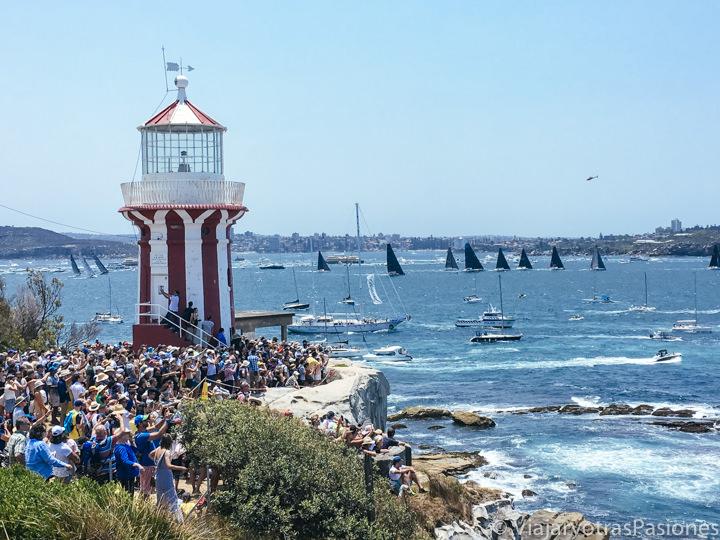 Vista panorámica de la famosa regata Sydney-Hobart en Sydney, Australia
