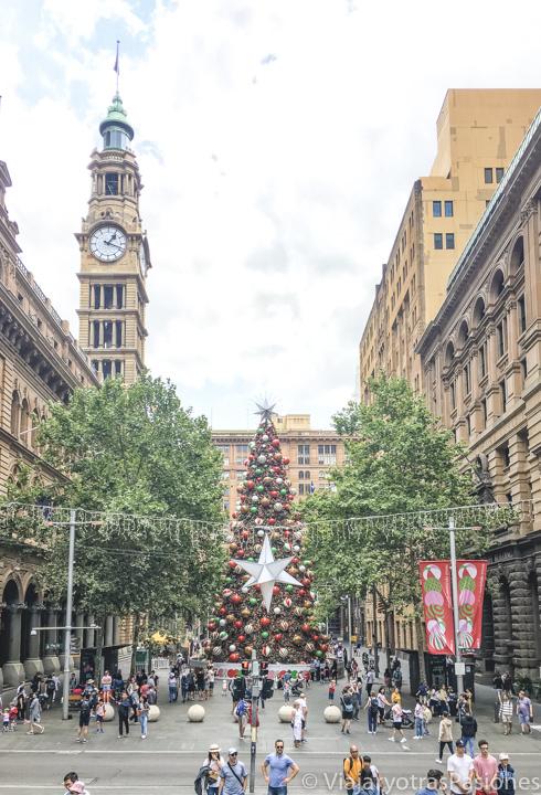 Panorama de St Martin Place en Navidad en Sydney, Australia