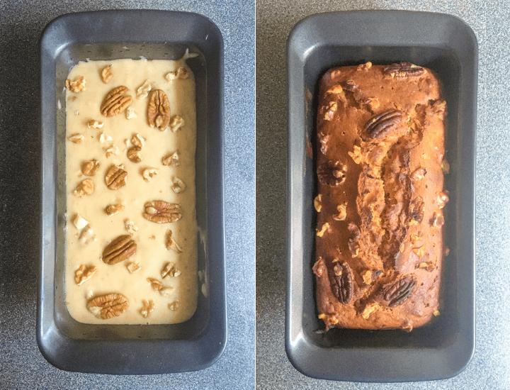 Pan de Plátano antes y después de ser horneado