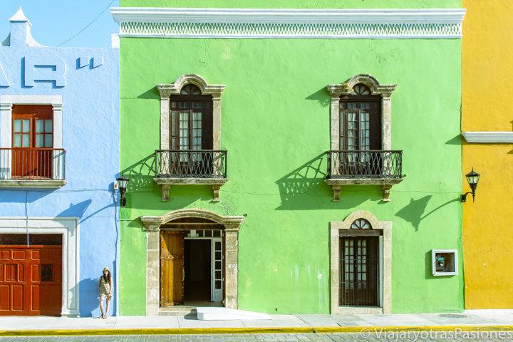 Fachada de una de las hermosas casas de Campeche, en México