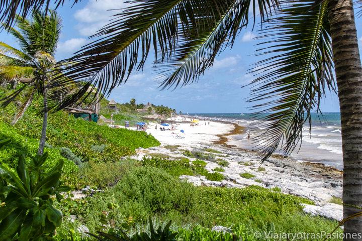 Vista panorámica de Playa Paraíso cerca de Tulum en México
