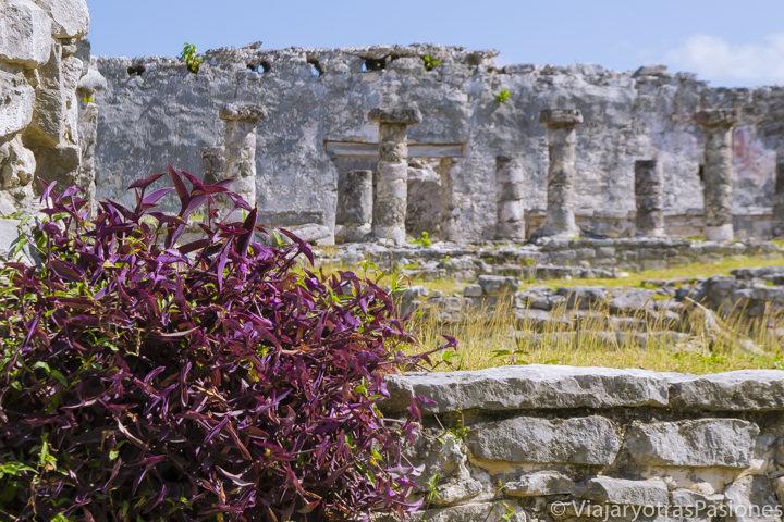 Bonita vista de la Casa de las Columnas en el sitio arqueológico de Tulum, México