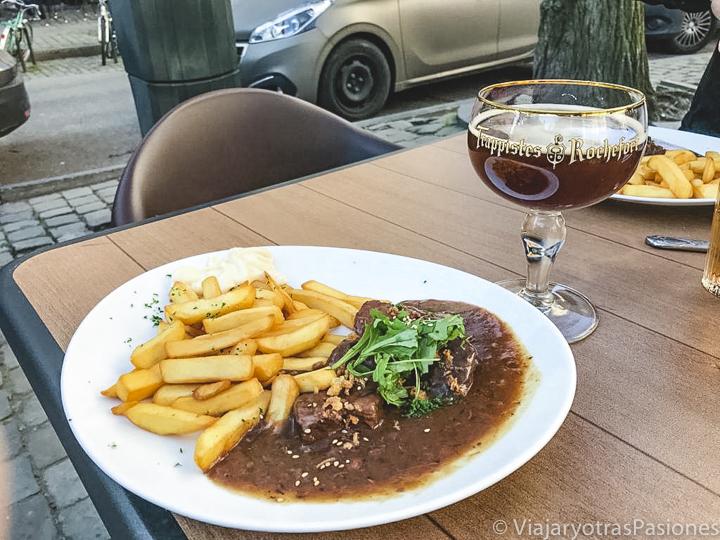 Sabroso plato de carbonnades flamandes en Bélgica