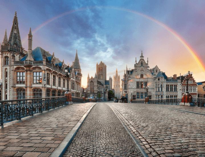 Espectacular vista del centro de Gante en Bélgica