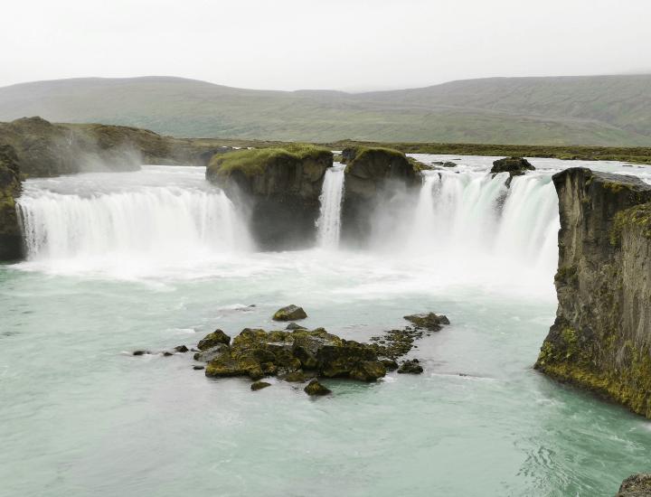 Panorama de la Cascadas Godafoss en Islandia