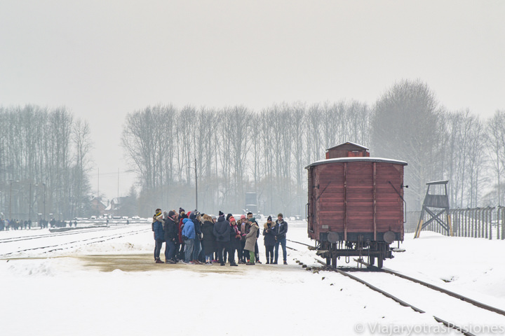 Grupo de visita al campo de Birkenau, en Polonia