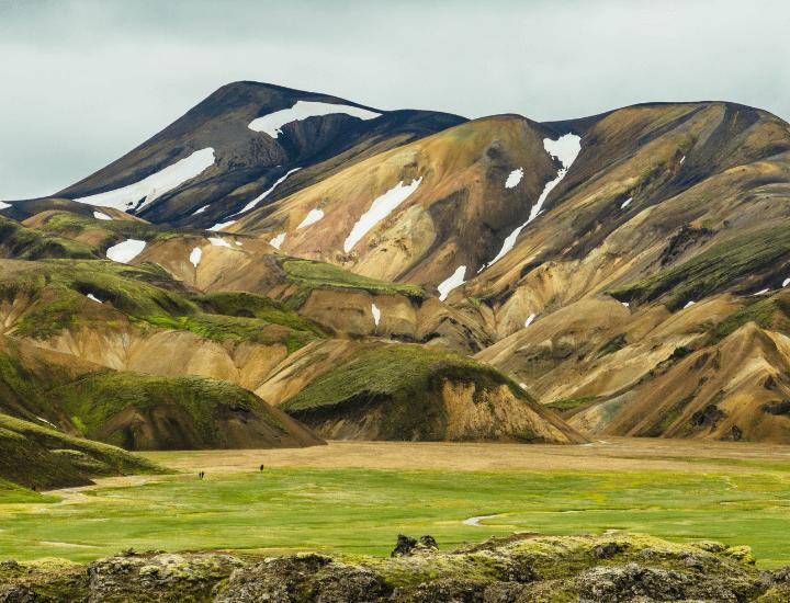 Impresionante vista de las terras altas islandesas, las Landmannalaugar