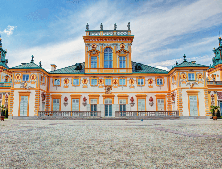 Vista Exterior del Palacio Wilanow cerca de la ciudad de Varsovia, Polonia